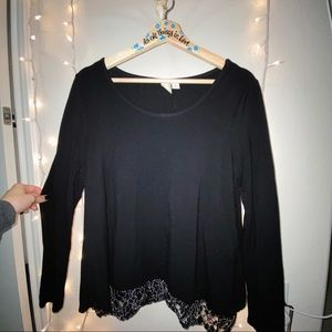ANTHROPOLOGIE LARGE BLACK BLOUSE LACE BOTTOM